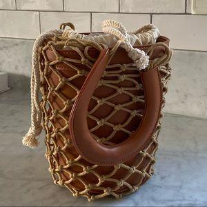 Melie Bianco Net Bucket Bag in Brown Saddle vegan
